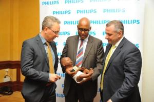From right:Maartne van Herpen, Head of Philips Africa Innovation Hub, Adan Mohammed, Cabinet Secretary Ministry of  Industrialization  and Enterprise Development and JJ van Dongen, Senior Vice President & CEO Philips Africa