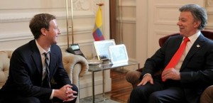 From Lto R: Facebook CEO and Founder, Mark Zuckerberg and President of Colombia, Juan Manuel Santos,
