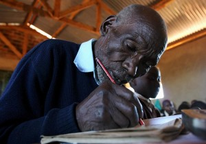 Stephen Ng'ang'a  Kimani Maruge, is honored with a Google Doodle for being a Guiness Book Record Holder as the oldest student. Google marks the 11th anniversary of his first day in school.