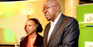 Safaricom head of product and services development Ken Okwero and Betty Mwangi-Thuo , general manager for financial services, during a business update meeting at the Serena Hotel (Photo Courtesy of Business Daily)