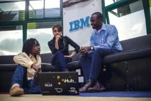 IBM Innovation Space @ iHub. Kenyan entrepreneur, Allan Juma, Co-Founder of Bitsoko (left) with Jessica Colaco, Director of Partnerships @iHub and Kennedy Wariua, IBM Ecosystem Development Leader (right)