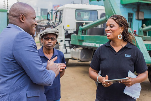 Evans Ondieki, Nairobi City County, Executive Committee Member, Water, Environment, Energy, Forestry and Natural Resources (left) with IBM Research Scientist, Aisha Walcott.