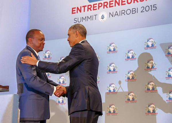 U.S President Barrack Obama and his Kenyan Counterpart Uhuru Kenyatta during the opening of the GES Summit at the United Nations in Nairobi