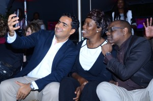 Airtel Kenya's CEO Adil El Youssefi, HR Director Irene Kitinya and Marketing Director Levi Nyakundi take a selfie at the Digital Content Products launch.