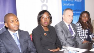 L-R: Kabelo Makwane, Managing Director, Microsoft Nigeria; Funke Opeke, CEO, MainOne; Rob Lever, Business Development Executive, MDX-i Data Center & Cloud Services and Oluwawemimo Adeniyi, Small Medium and Business Partners' Director, Microsoft Nigeria, at the MainOne/Microsoft Cloud Press Conference in Lagos.
