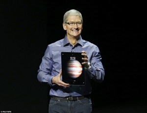 Apple CEO Tim Cook introduces the new iPad Pro (Photo courtesy of Reuters)