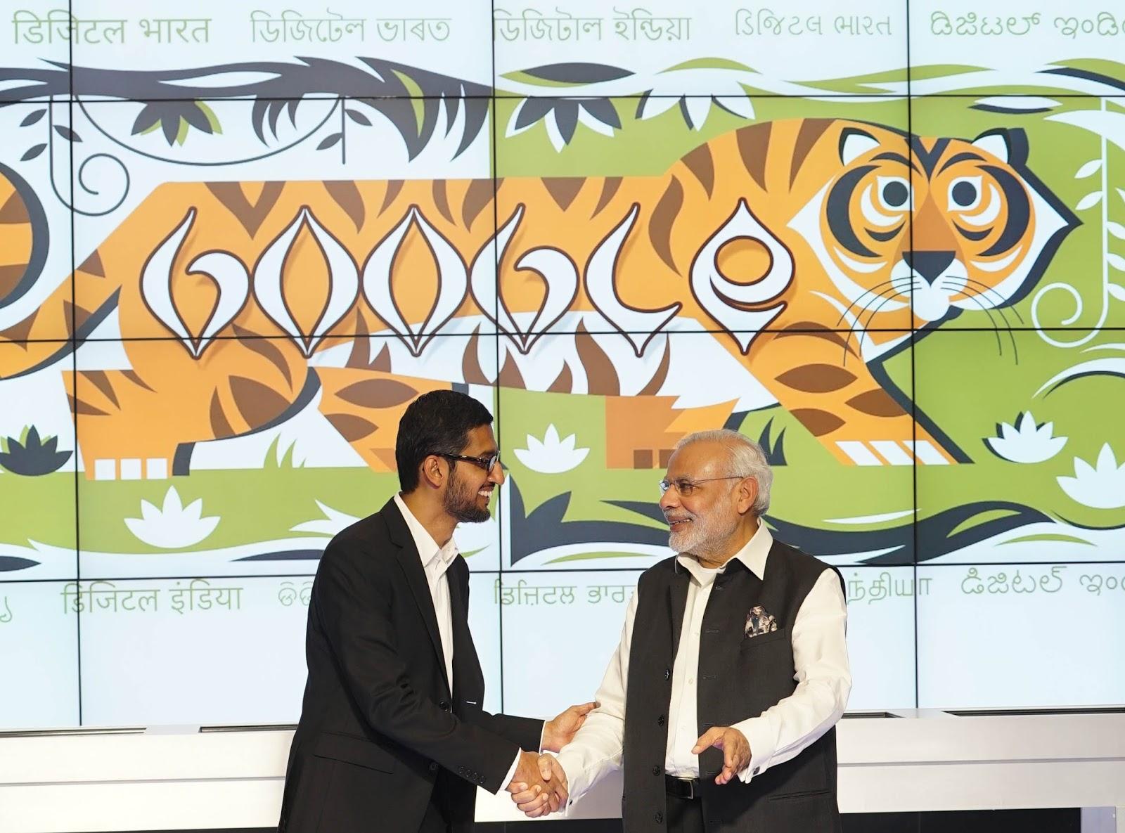 From L to R: CEO Google CEO Sundar Pichai and Prime Minister Narendra Modi at the Googleplex today.