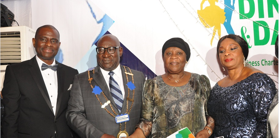 L-R, MD/CEO Airtel Nigeria, Segun Ogunsanya; Board Chairman, International Chamber of Commerce (ICC) Nigeria, Babatunde Savage; former CJN, Hon. Justice Aloma Mukhtar (GCON) and ICC Nigeria Treasurer, Dorothy Ufot (SAN) during the 2015 Annual Dinner & Dance of ICC Nigeria in Lagos on Friday.