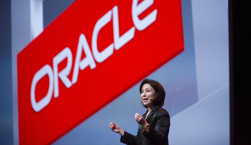 Safra Catz, co-chief executive officer of Oracle Corp., gestures as she speaks during the Oracle OpenWorld 2014 conference in San Francisco, California, U.S., on Sunday, Sept. 28, 2014. Catz made her first remarks as Oracle co-CEO at the conference when she introduced Intel Corp. President Renee James, who also spoke. Photographer: David Paul Morris/Bloomberg via Getty Images