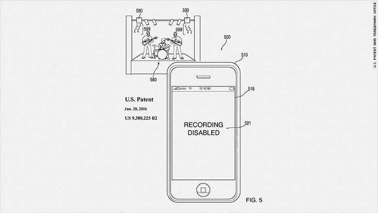The patent shows how Apple will disable your phone video recording features.