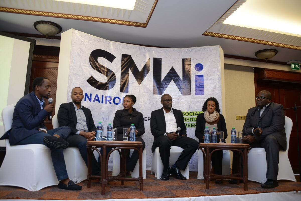 Roy Wachira (Left) of Foundry Africa and Moses Kemibaro (right) of Dotsavvy moderates a panel session at Social Media Week independent (SMWi) Partner launch at Serena Hotel in Nairobi.