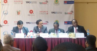 Laban Onditi Rao, Vice Chair, Kenya National Chamber of Commerce and Industry (KNCCI) - with microphone - makes a point during the Source India Expo pre event media briefing. Looking on are - from left - Sandip Das, COO, ProTrade Group; Rajesh Swami Swami, Deputy High Commisioner, Indian High Commision and Charles Kahuthu, CEO, East Africa Chamber of Commerce, Industry & Agriculture (EACCIA).